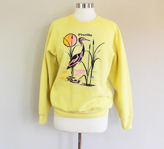 80s Vintage Yellow Florida Sweatshirt - LARGE