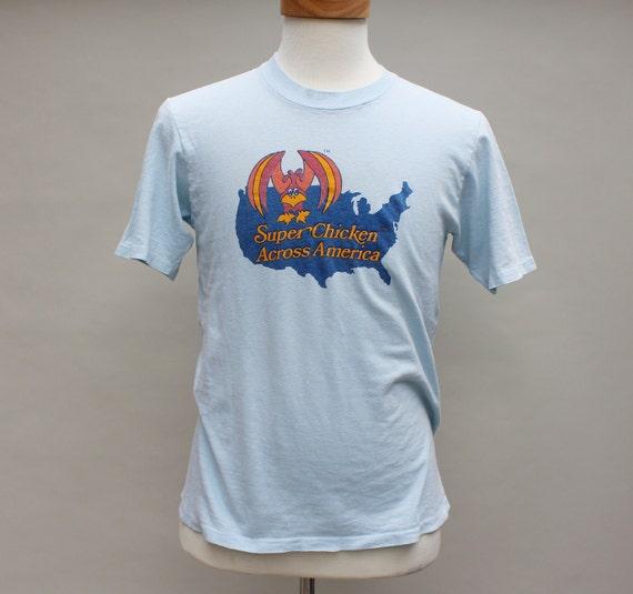 """80s Vintage """"Super Chicken Across America"""" T-Shirt - MEDIUM"""