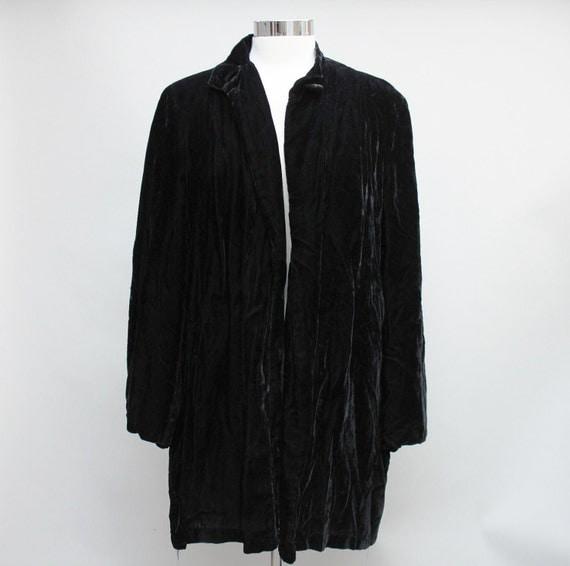 50s Vintage Black Velvet Coat - LARGE / medium NEEDS REPAIR