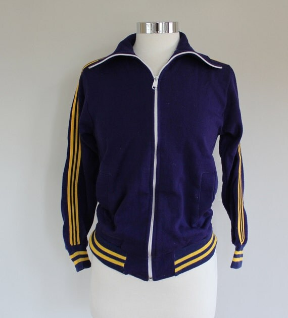 Vintage 80s Navy and Yellow Striped Track Jacket size SMALL