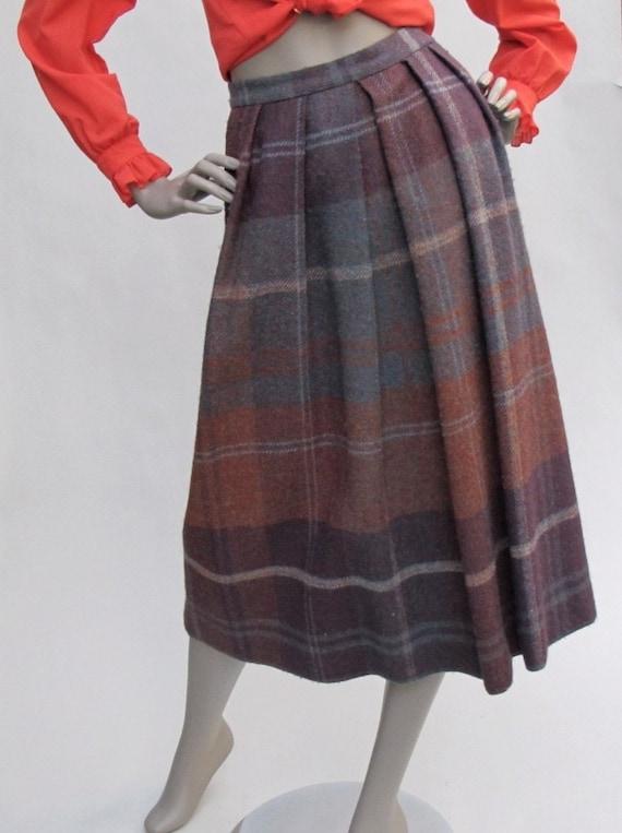 60s Vintage Wool Plaid Skirt - SMALL