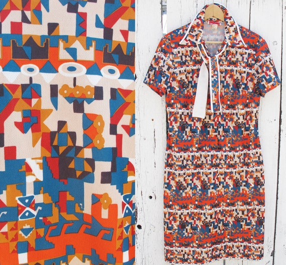 Vintage 70s Funky Pattern Shirt Dress size LARGE