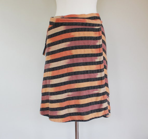 70s Vintage Ikat Striped Wrap Skirt with Pocket - MEDIUM / small