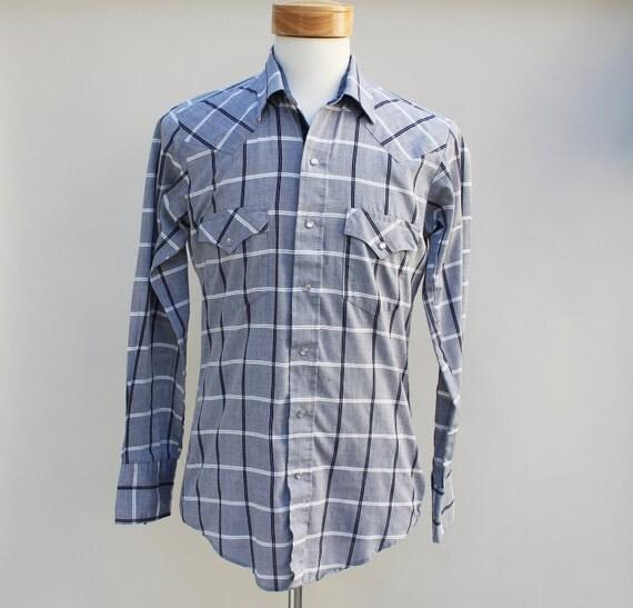 80s Vintage Men's Grid / Plaid Western Shirt - LARGE