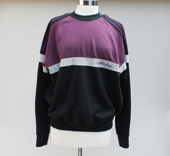 80s Vintage ADIDAS Sweatshirt in Black Purple and Gray - LARGE / xl