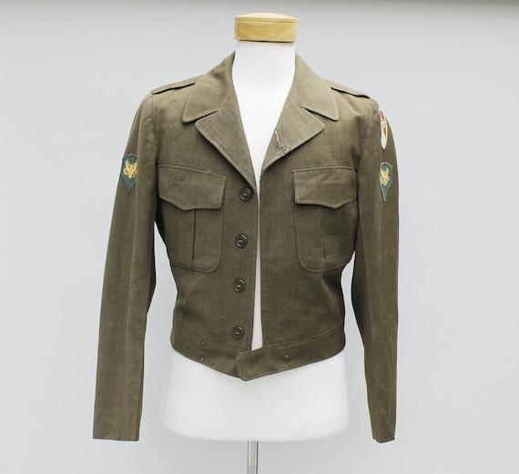 40s Vintage Men's Olive Wool Military Jacket - 36L