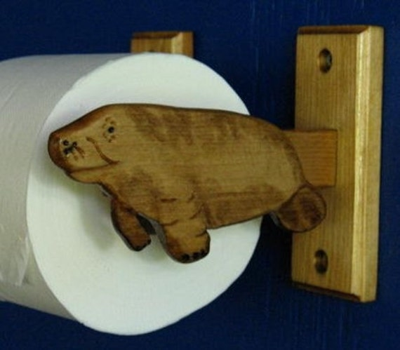 Manatee, Sea Cow Toilet Roll Holder, Cabinet Mounted Toilet Roll Holder, Wall Mounted Towel Rack
