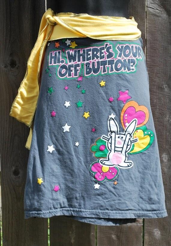 Snarky Bunny tee shirt wrap skirt  CLEARANCE