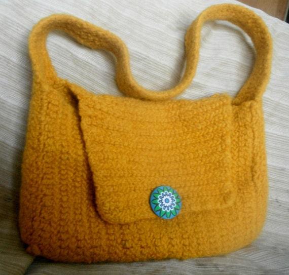 Marigold Yellow Wool Felted Crochet Purse