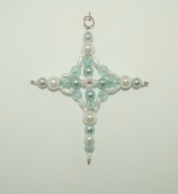 Cross Ornament - Car Charm - Suncatcher - Sea Green and White Pearl