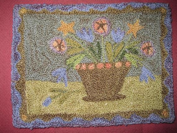 Star Flower Pot-Punch Needle Pattern