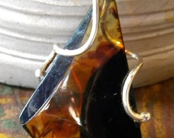 Baltic Amber Pendant with Modern Silver Design