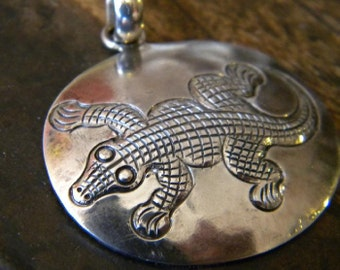 Sterling Alligator Pendant Charm for Reptile Lovers
