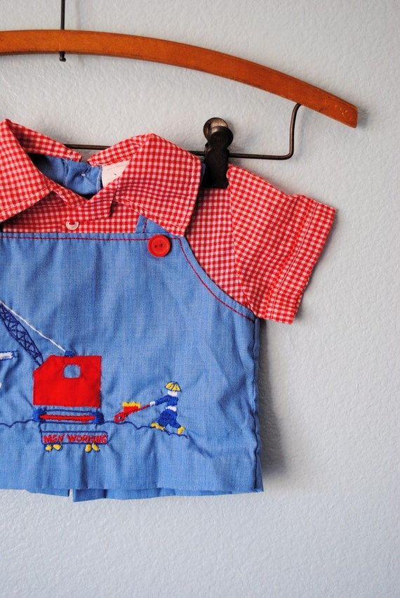 vintage baby construction worker outfit sz 6 to 9 months