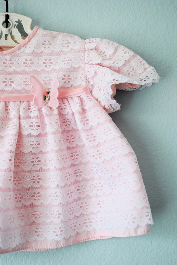 RESERVE vintage baby girl pink and white lace dress.top