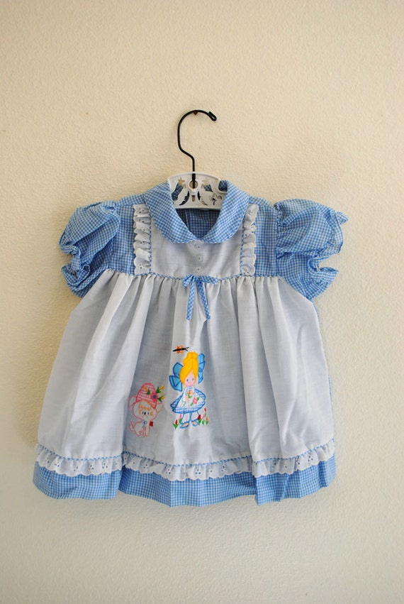 vintage girl blue gingham dress