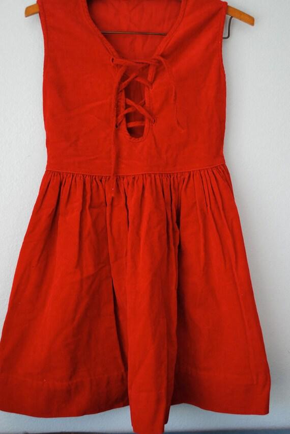 vintage girl red corduroy dress