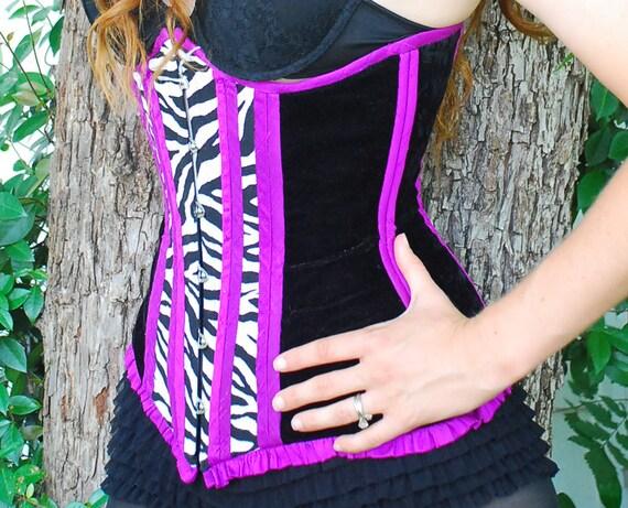"Underbust corset, purple and zebra, busk, ruffles, dupioni silk, 24"" waist, by Jupiter Moon 3"