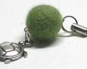 PIF Turtle Green Felt Bead Cell Phone Charm