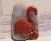 Carved Jasper and Agate Flamingo pendant bead ...........      fpb1823