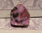 Cabalto Calcite and Malachite Druzy slice  ........    17 x 14 x 7mm ........     3543