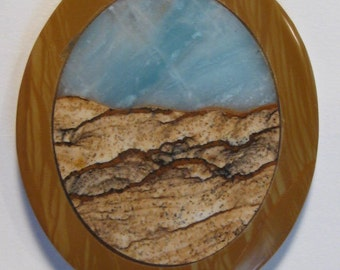 Amazonite and Picture Jasper  pendant bead ........  53 x 45 x 6 mm ......        565
