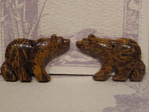 Two carved bear beads caligraphy stone drilled for