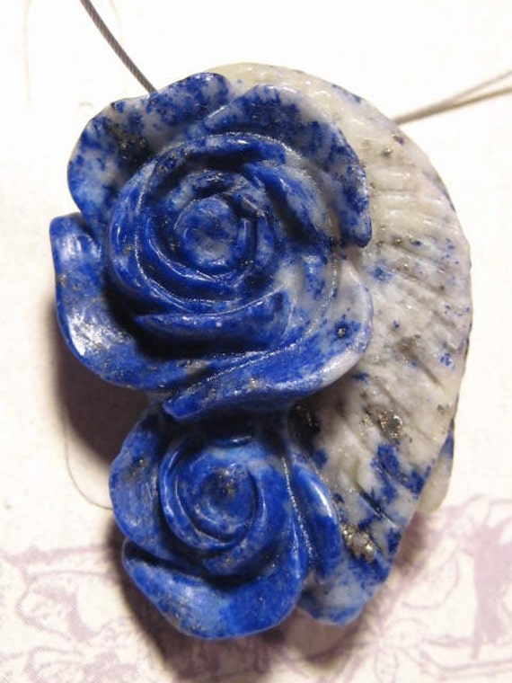 Carved Lapis Flower pendant bead...........  41 x 29 x 15mm ...........   2388
