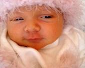 Blush Pink Newborn Baby Elf Crochet Flower Hat