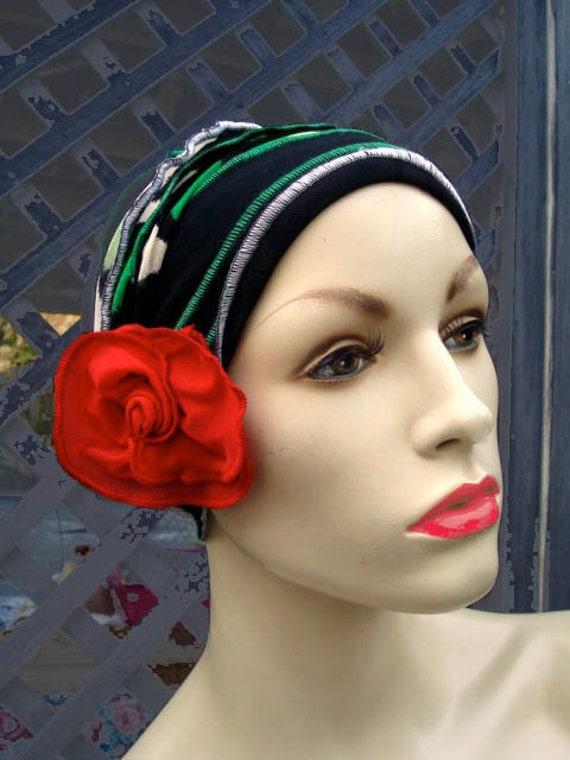 Funky  Flower Womens neckwarmer Vintage style Headband chemo 1920s hat adult