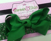 Green Boutique Hair Bow & Matching Crochet Headband