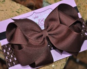 LARGE DOUBLE LAYER Brown Boutique Hair Bow