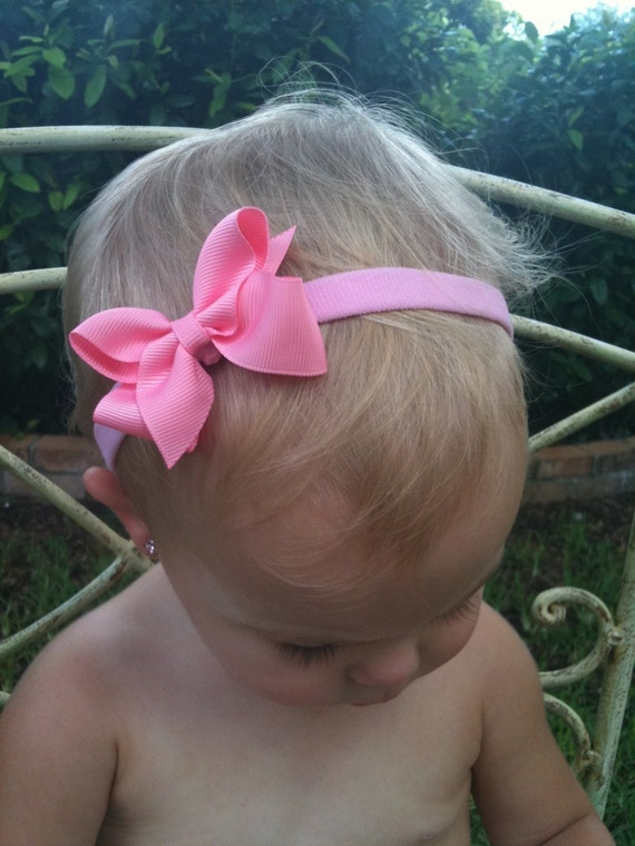 Pink Tiny Thin Bowband-- A Favorite for All Ages