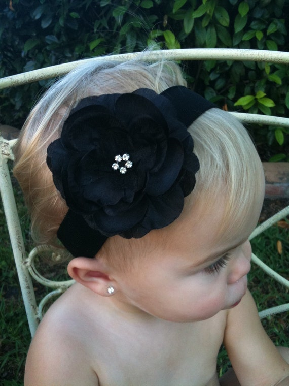SWEET AND CHIC SOLID BLACK RHINESTONE PEONY  HEADBAND- PERFECT FOR NEWBORNS TO TODDLERS
