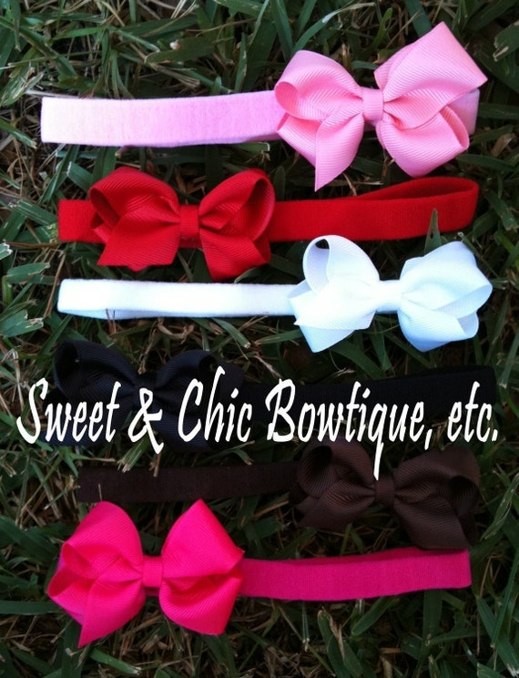 Tiny Thin Boutique Bowbands- Set of SIX- The Most Popular Colors- MUST HAVE Set for Your New Arrival- Perfect for Everyday Wear