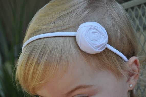 PURE WHITE-- Shabby Chic--Rolled Fabric Rosette Flower Headband-- Perfect for Baptisms/Christenings, Photography Prop