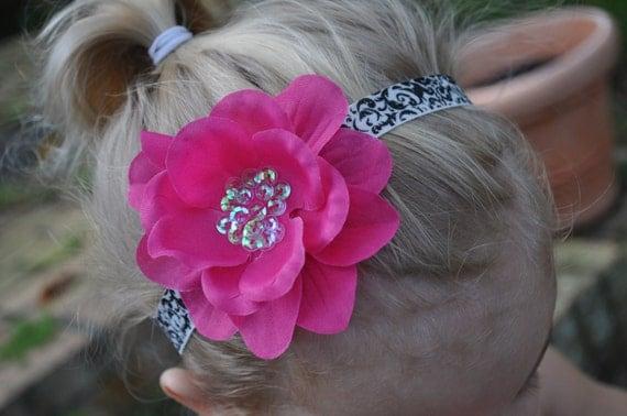 Hot Pink & Damask-- Sequin Flower on SUPER SOFT Black and White, Elastic Headband-- Size Customizable