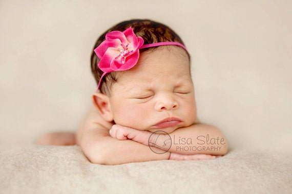 Hot Pink --ITTY BITTY BLOOM-- Boutique Flower Headband- Perfect Infant Photography Prop-- Custom Sizing Requests Welcome