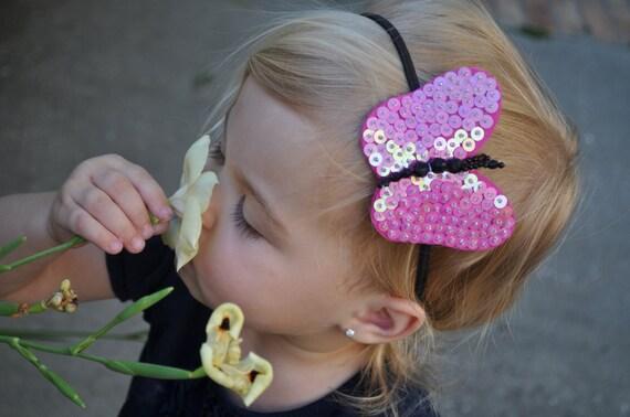 FlutterBug SEQUIN, BEADED Butterfly Headband- Hot Pink & Black on Black Skinny Stretch Headband