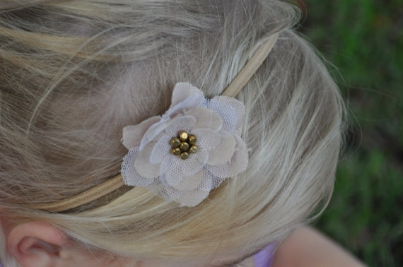 NaTuRaL-- Linen & Tulle-- Antique Brass Beaded-- Sheer Fabric Flower Headband- Original, Perfect Photography Prop-- Great for Everyday Wear