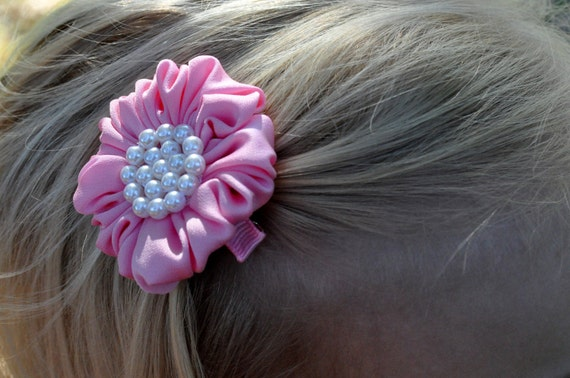 "PINK Satin & Pearls-- ""Puff"" Special Occasion HAIR CLIP-- Large Cluster of Pearls-- Very ChiC"