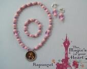 Rapunzel Shiny 3 Piece Stretch Necklace Bracelet and Clip on Earrings Set