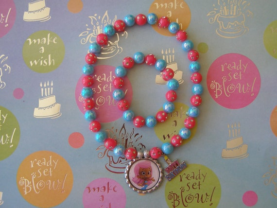 Bubble Guppies Birthday Stretch Necklace and Bracelet Set