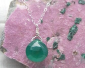 Green necklace for Women | Kelly Green Onyx necklace | Green Onyx jewelry | Emerald Green necklace | Bright green pendant | Gift for Mom