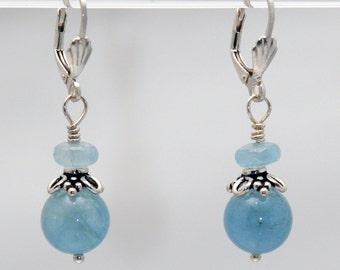 Aquamarine Gentle Compassion earrings (Aquamarine, Sterling Silver lever backs)