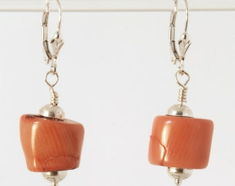 Peach Positivity 1 earrings (Peach Coral, Sterling Silver lever backs)