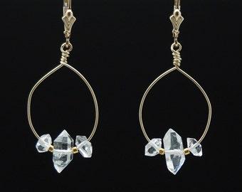 Herkimer Diamond hoop earrings / Herkimer Diamond earrings / Herkimer Diamod dangles / April Birthstone / Quartz Crystal Healing earrings