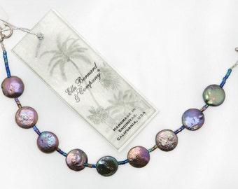 Purple Pearl bracelet / Ocean Rainbow bracelet (Indigo Coin Pearls, Sterling Silver)