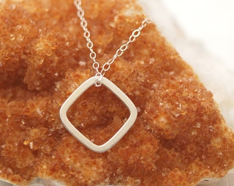 Simplicity geometric pendant necklace 1 (Sterling Silver flat square/diamond ring shaped charm and Sterling Silver chain)
