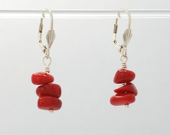 Red Coral stack Earrings (Red Coral beads, Sterling Silver clam lever backs and findings)